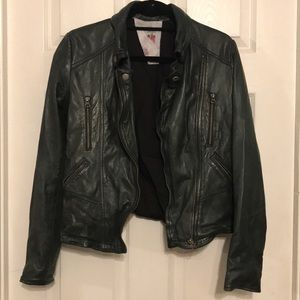 free people real leather jacket